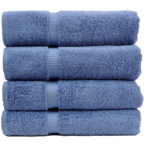 Luxury Hotel & Spa Towel 100% Genuine Turkish Cotton Bath Towels - Wedgewood-Dobby Border-Set of 4