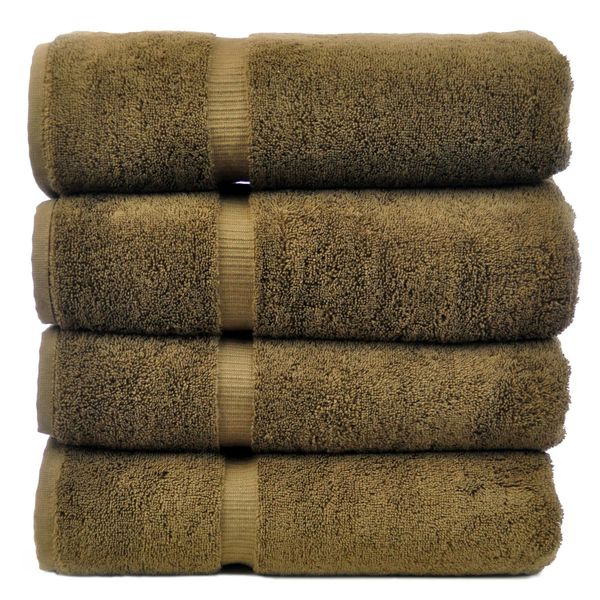 Luxury Hotel & Spa Towel 100% Genuine Turkish Cotton Bath Towels - Cocoa - Dobby Border - Set of 4