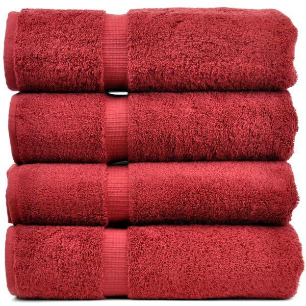 Luxury Hotel & Spa Towel 100% Genuine Turkish Cotton Bath Towels - Cranberry - Dobby Border - Set of 4