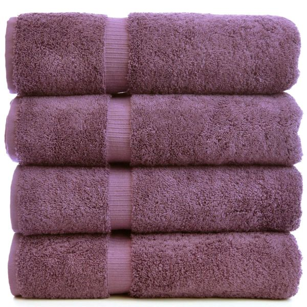 Luxury Hotel & Spa Towel 100% Genuine Turkish Cotton Bath Towels - Plum - Dobby Border - Set of 4