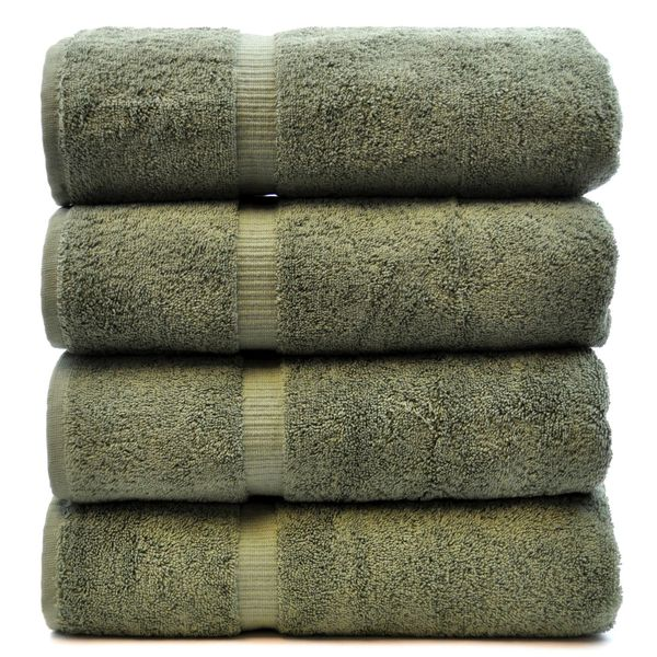 Luxury Hotel & Spa Towel 100% Genuine Turkish Cotton Bath Towels - Moss - Dobby Border - Set of 4