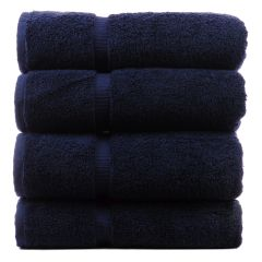 Luxury Hotel & Spa Towel 100% Genuine Turkish Cotton Bath Towels - Navy Blue - Dobby Border - Set of 4