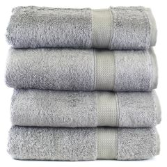 Luxury Hotel & Spa Towel 100% Genuine Turkish Cotton Bath Towels - Gray - Bamboo - Set of 4