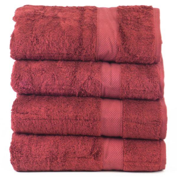 Luxury Hotel & Spa Towel 100% Genuine Turkish Cotton Bath Towels - Cranberry - Bamboo - Set of 4