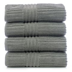 Luxury Hotel & Spa Towel 100% Genuine Turkish Cotton Bath Towels - Gray - Stripe - Set of 4