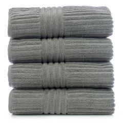 Luxury Hotel & Spa Towel 100% Genuine Turkish Cotton Bath Towels - Gray - Stripe - Set of 4