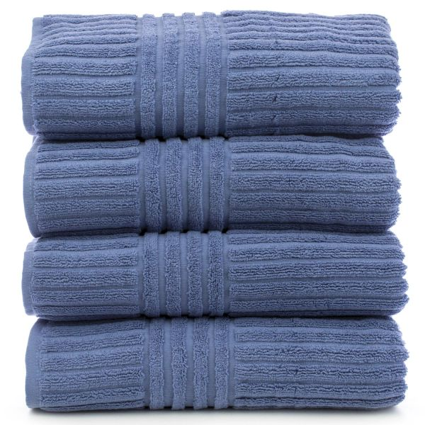 Luxury Hotel & Spa Towel 100% Genuine Turkish Cotton Bath Towels - Wedgewood - Stripe - Set of 4