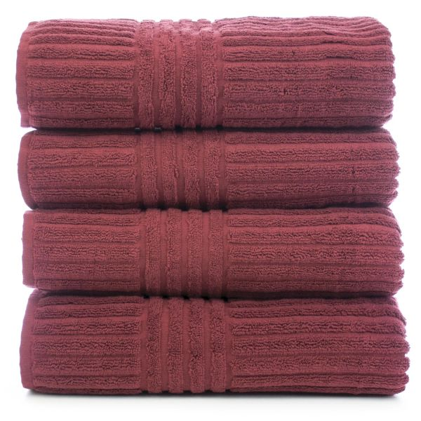 Luxury Hotel & Spa Towel 100% Genuine Turkish Cotton Bath Towels - Cranberry - Stripe - Set of 4