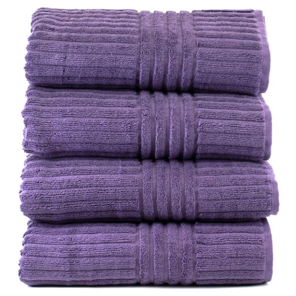 Luxury Hotel & Spa Towel 100% Genuine Turkish Cotton Bath Towels - Plum - Stripe - Set of 4