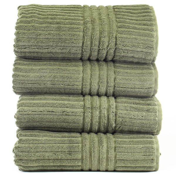 Luxury Hotel & Spa Towel 100% Genuine Turkish Cotton Bath Towels - Moss - Stripe - Set of 4
