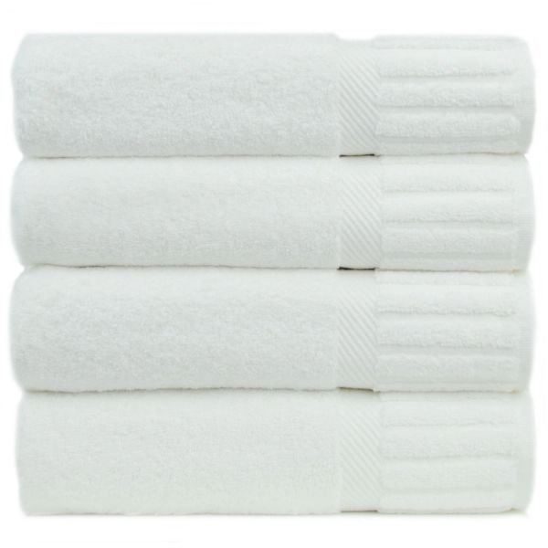 Luxury Hotel & Spa Towel 100% Genuine Turkish Cotton Bath Towels - White - Piano - Set of 4