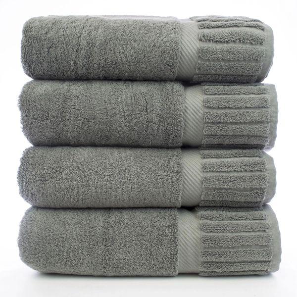 Luxury Hotel & Spa Towel 100% Genuine Turkish Cotton Bath Towels - Gray - Piano - Set of 4
