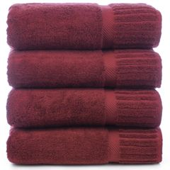 Luxury Hotel & Spa Towel 100% Genuine Turkish Cotton Bath Towels - Cranberry - Piano - Set of 4