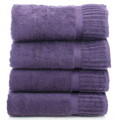 Luxury Hotel & Spa Towel 100% Genuine Turkish Cotton Bath Towels - Plum - Piano - Set of 4