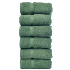 Luxury Hotel & Spa Towel 100% Genuine Turkish Cotton Hand Towels - Moss - Dobby Border - Set of 6