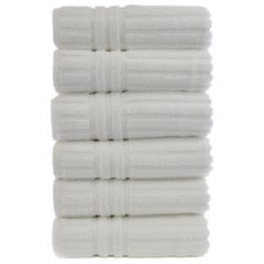 Luxury Hotel & Spa Towel 100% Genuine Turkish Cotton Hand Towels - White - Striped - Set of 6