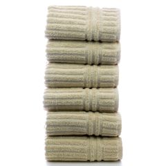 Luxury Hotel & Spa Towel 100% Genuine Turkish Cotton Hand Towels - Beige - Stripe - Set of 6