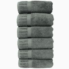 Luxury Hotel & Spa Towel 100% Genuine Turkish Cotton Hand Towels - Gray - Piano - Set of 6
