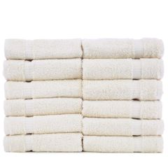 Luxury Hotel & Spa Towel 100% Genuine Turkish Cotton Washcloths - Beige - Dobby Border - Set of 12