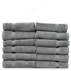 Luxury Hotel & Spa Towel 100% Genuine Turkish Cotton Washcloths - Gray - Dobby Border - Set of 12