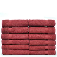 Luxury Hotel & Spa Towel 100% Genuine Turkish Cotton Washcloths - Cranberry - Dobby Border - Set of 12