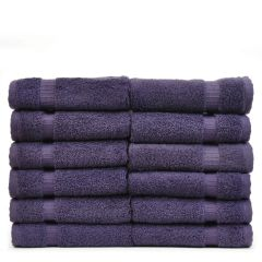 Luxury Hotel & Spa Towel 100% Genuine Turkish Cotton Washcloths - Plum - Dobby Border - Set of 12