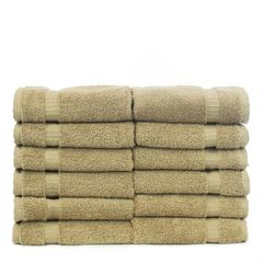 Luxury Hotel & Spa Towel 100% Genuine Turkish Cotton Washcloths - Drift Wood - Dobby Border - Set of 12