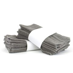 Eco Cotton Washcloths - Gray - Cam Border - Set of 24