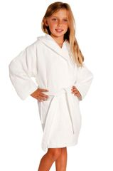 100% Turkish Cotton Kids Hooded Waffle Diamond Robe - White - Kids (Age 7-10) - Large