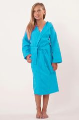 100% Turkish Cotton Kids Hooded Waffle Diamond Robe - Turquoise - Kids (Age 3-6) - Small Medium