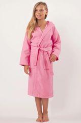 100% Turkish Cotton Kids Hooded Waffle Diamond Robe - Pink - Kids (Age 7-10) - Large