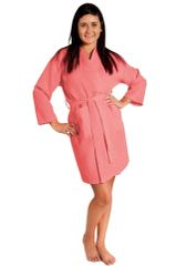 Tight Lenght Waffle Kimono Robe - Women - Coral - Adult - One Size