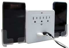 USB Outlet Surge Protector With Slide Out Phone Caddies