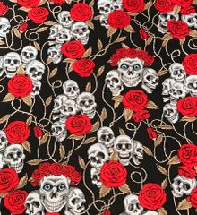 Skulls&Roses on Black Bandana