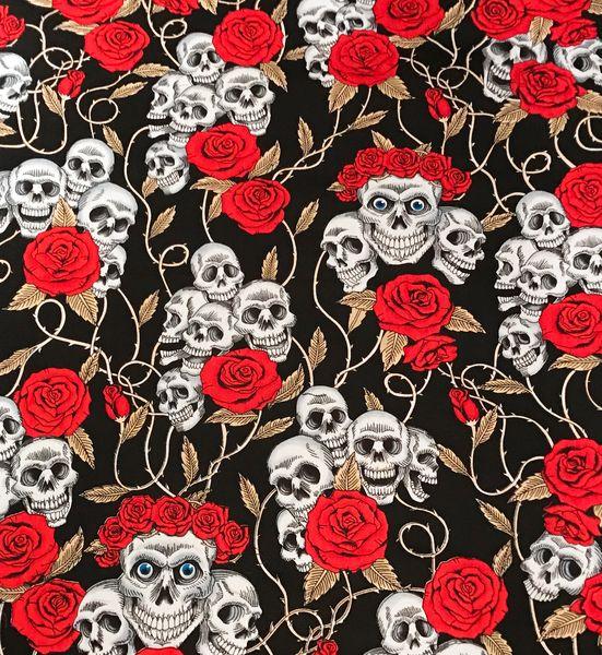 Skulls&Roses on Black Bandana