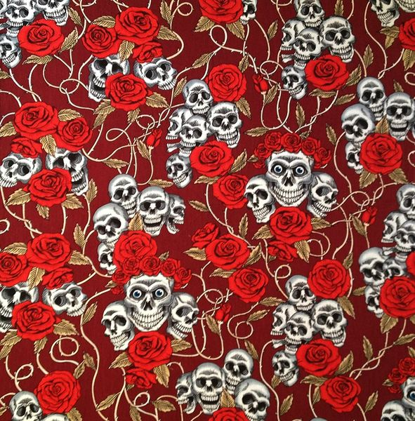 Skulls&Roses on Red Bandana