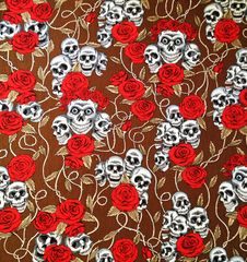 Skulls&Roses on Brown Bandana