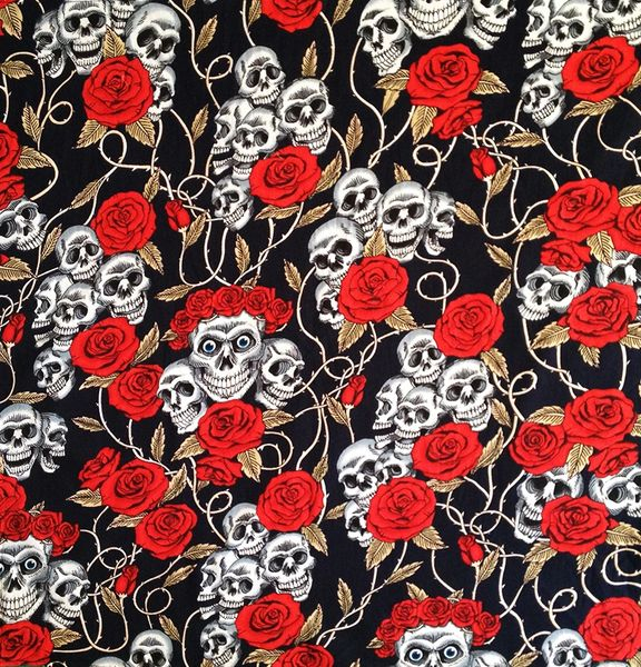 Skulls&Roses on Dark-Blue Bandana