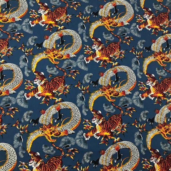 Tiger Dragon on Blue Bandana