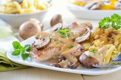 """Previous Item: Jägerschnitzel or """"Hunter's Cutlet"""" (Veal Cutlets with mushrooms in a sour cream sauce) and Homemade Spätzle ($14 Per Person / Time to Cook: 30 min. / Cook By Day: Monday)"""