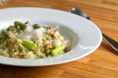 Previous Item: Risotto! Options include: Parmigiano-Reggiano, Wild Morels, Asparagus, Shrimp, Black, Ham & Peas (Starting at $14 per serving / Time to Cook: 30 Min. / Cook by Day: Monday)