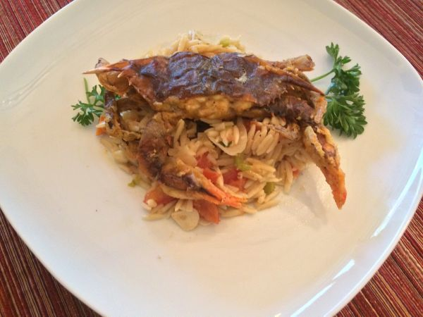 Previous Item: Pan Roasted Soft Shell Crabs with a Roasted Tomato Pan Sauce over Orzo Pilaf (Time to Cook: 20 min / Cook by Day: Saturday)