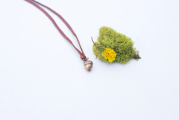 Acorn necklace on deerskin leather