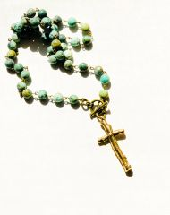 Twig Cross Bronze on African Turquoise