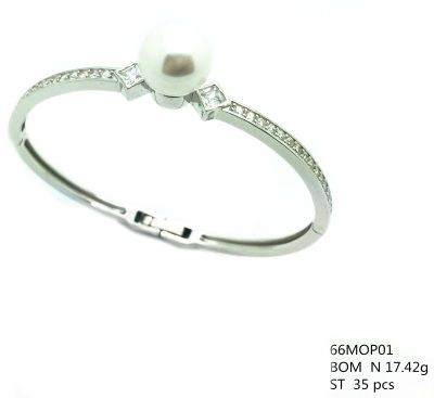 925 SILVER BANGLE WITH PEARL AND CZ STONES , 66MOP01