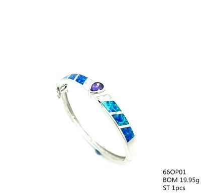 925 SILVER LAB BLUE OPAL BANGLE WITH TANZNITE CZ CENTER STONE, 66OP01-TZ