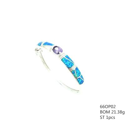 925 SILVER LAB BLUE OPAL BANGLE WITH AMETHYST CZ CENTER STONE, 66OP02-AM