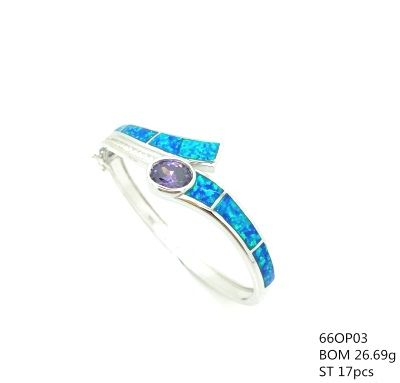 925 SILVER LAB BLUE OPAL BANGLE WITH AMETHYST CZ CENTER STONE, 66OP03-AM