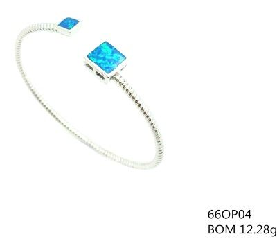 925 SILVER LAB BLUE OPAL CABLE SQUARE CUFF BANGLE, 66OP04-K5