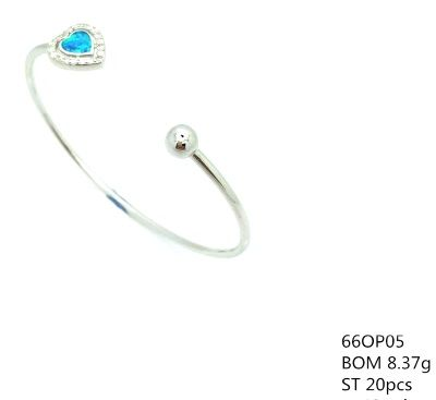 925 SILVER LAB BLUE OPAL HEART CUFF BANGLE,66OP05-K5